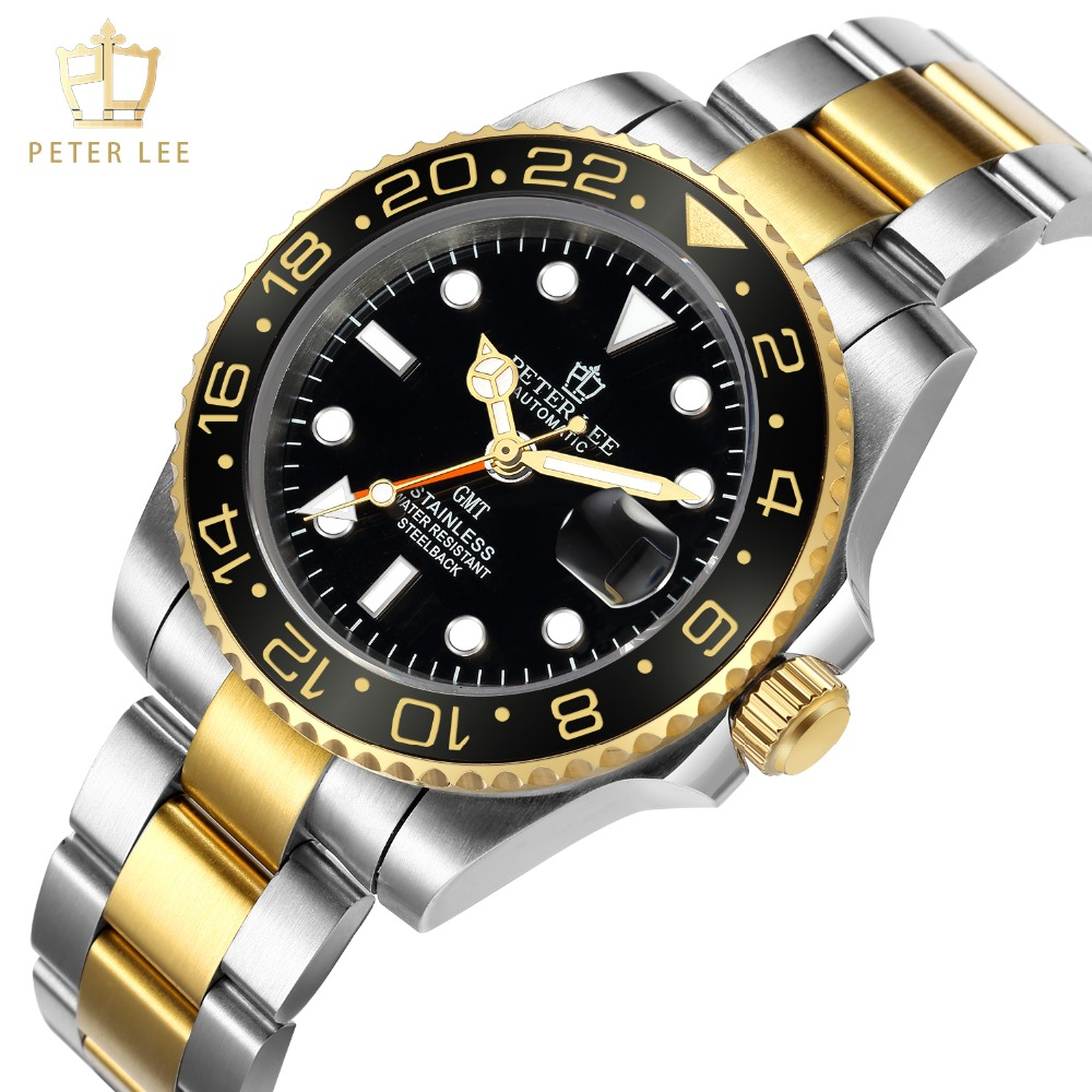 H9720ba4af4354d9aab774c3f26ca61baX Best Watches For Men   PETER LEE Automatic Watch   Classic Ceramic bezel luxury daydate 40mm mechanical men watches noctilucous stainless steel rose gold men automatic watch