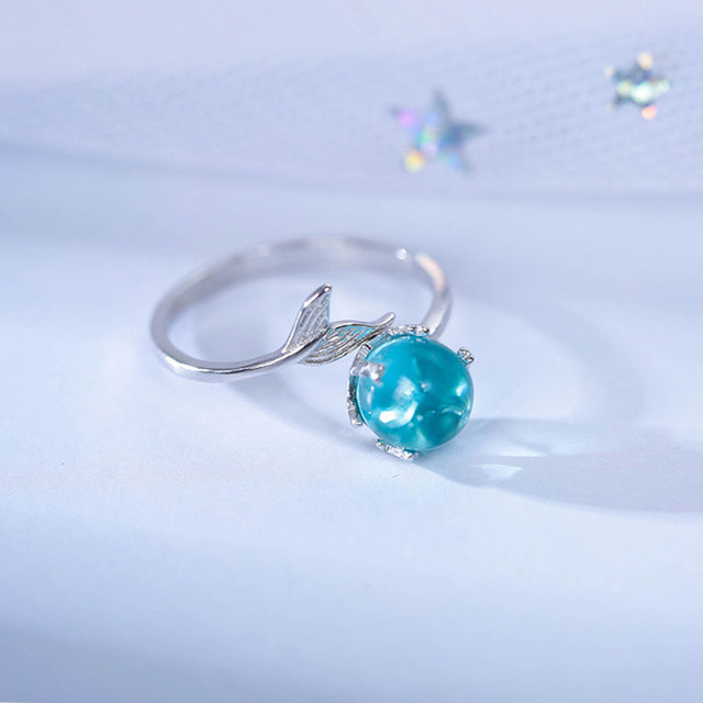 925 Silver Sterling Hand Made MerMaid Foam Opening Size Adjustable Female Style Simple Fashion Fishtail Ring Accessories 1