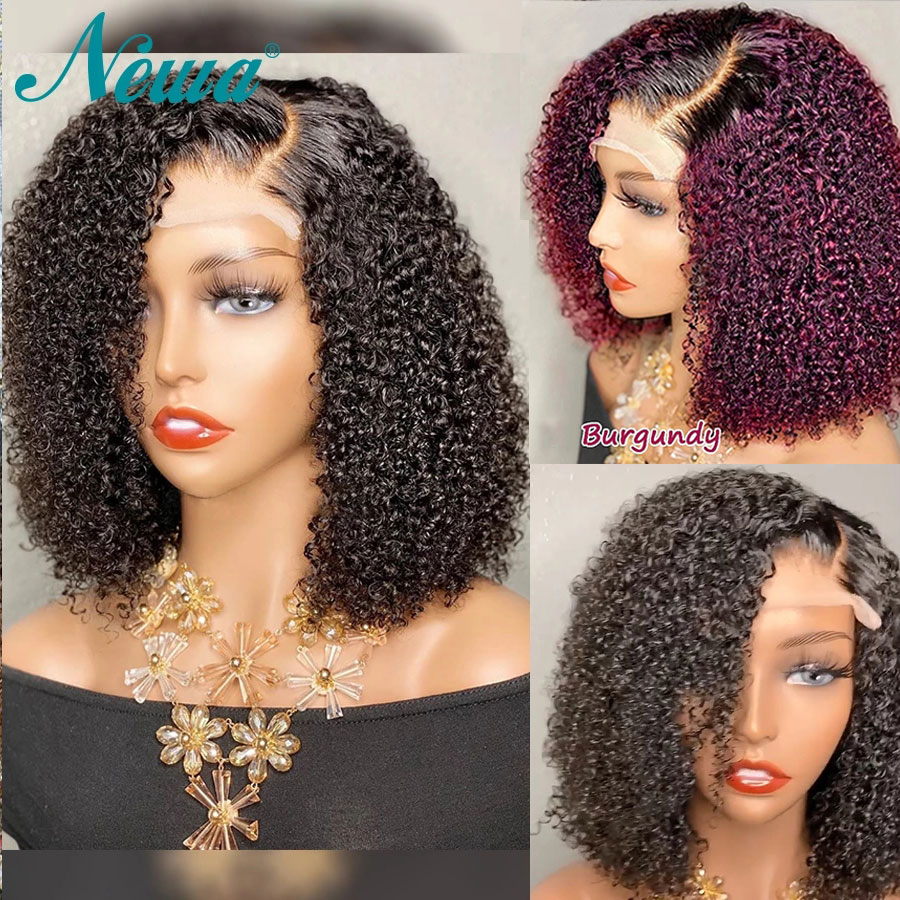 10A Newa Short Bob Wig Ombre Curly Human Hair Wig Pre Plucked 13x6 Brazilian Lace Front Wig Highlight 4x4 Closure Wigs For Women pre    - AliExpress
