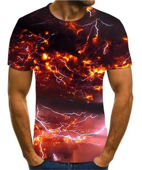 Summer 3D men's T-shirt, T-shirt with lightning landscape pattern, men's black T-shirt, summer round neck T-shirt stripe pattern round neck stitching design t shirt in black