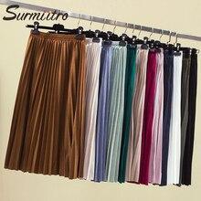 Женская бархатная юбка-миди SURMIITRO, плиссированная юбка 11 цветов с высокой талией в корейском стиле для женщин осень зима