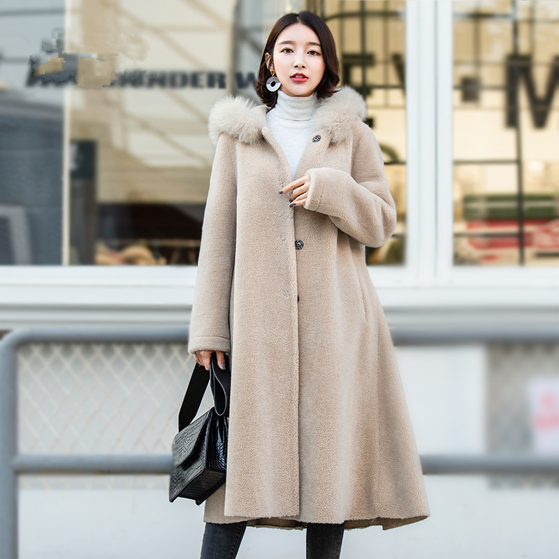 Coat Fur Women's Winter Jacket Women Fox Fur Collar Sheep Shearling Wool Coat Female Korean Jackets Suede Lining MY4196 S