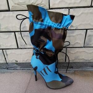 Image 5 - Perixir Hoge Dunne Hakken Laarzen Voor Vrouwen 11Cm Stiletto Mode Camouflage Enkellaarsjes Vrouw Lace Up Sexy Chic Night club Schoenen