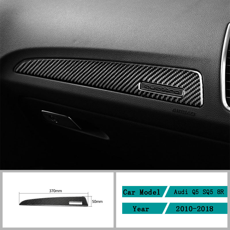 Carbon Fiber Car Accessories Interior Dashboard Decals Decal Frame Carbon Fiber Cover Trim Stickers For Audi Q5 SQ5 8R 2010-2018