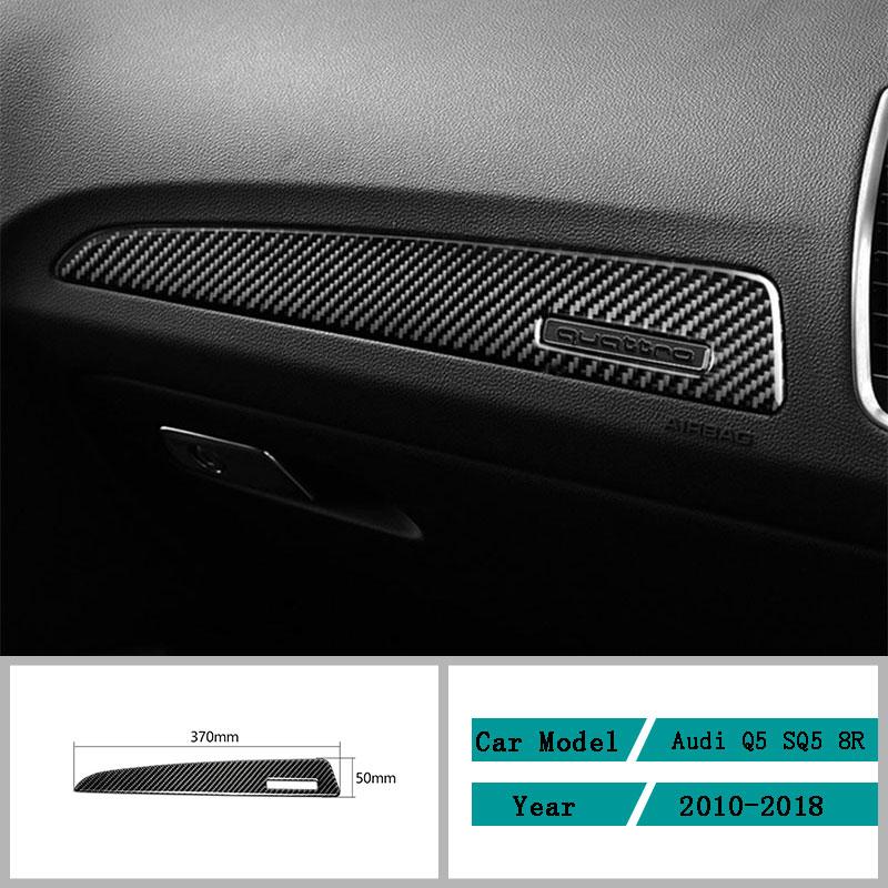 Carbon Fiber Car Accessories Interior Dashboard Decals Decal Frame Carbon Fiber Cover Trim Stickers For Audi Q5 SQ5 8R 2010-2018