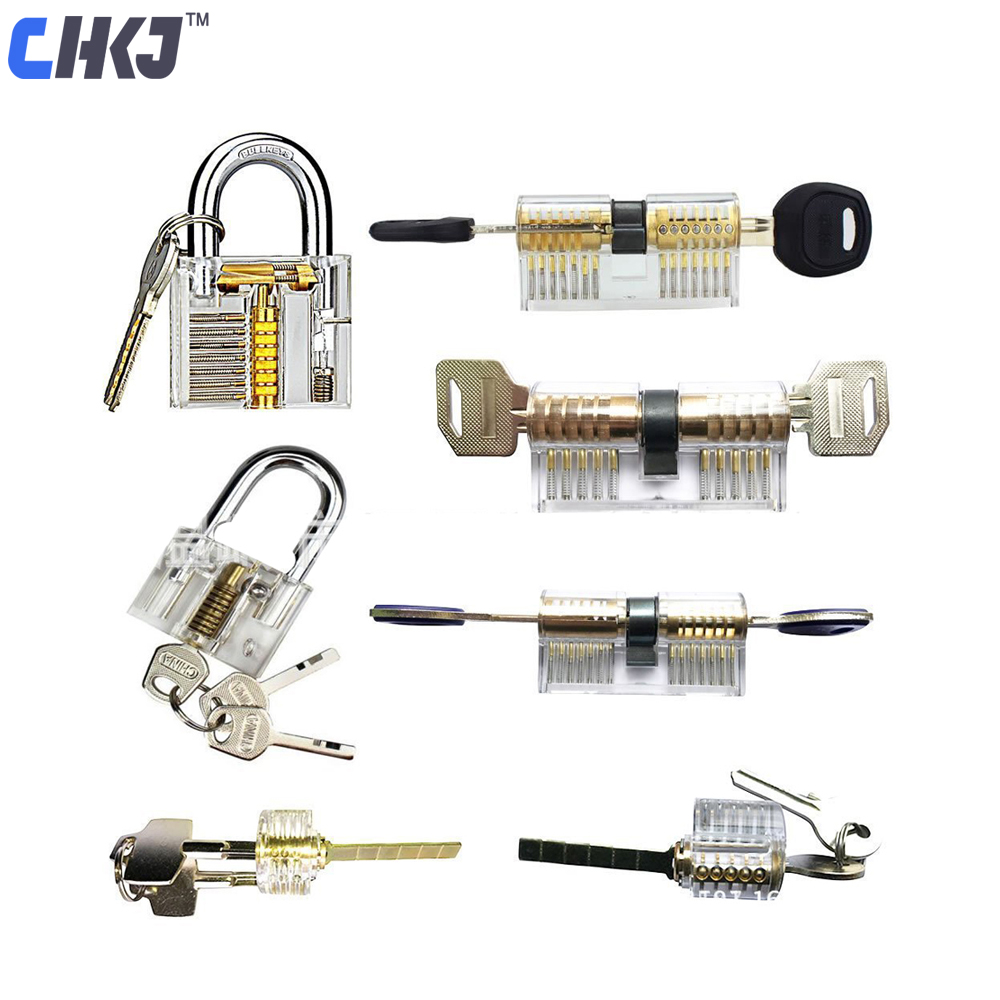 CHKJ 7pcs/lot Transparent Locks Combination Practice Locksmith Training Tools Visible Lock Pick Sets Free Shipping
