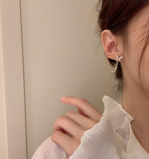 Korean Elegant Cute Rhinestone Butterfly Stud Earrings For Women Girls Fashion Metal Chain Boucle D'oreille Jewelry Gifts 5