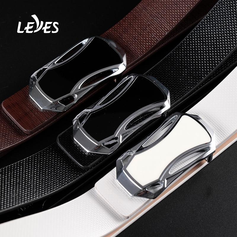 Brand Fashion Automatic Buckle Black Genuine Leather Belt Men's Belts Cow Leather Belts for Men 3.5cm Width