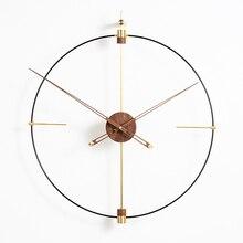 Большие DIY настенные часы современный дизайн скандинавские простые железные художественные 3D Декоративные часы негабаритные латунные настенные часы домашний декор 80x93 см