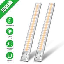 Goodland dolap ışığı 160 LED işıkları PIR hareket sensörlü ışık dolap dolap gece lambası mutfak yatak odası dolabı arka ışık