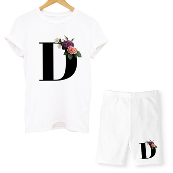 Women Two Piec Set Letter T Shirts And Shorts Set Summer Short Sleeve O-neck Casual Joggers Biker Shorts Sexy Outfit For Woman 2