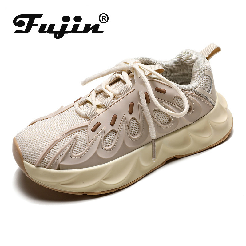 Fujin Sneakers Women Breathable Sewing Round Toe Mesh Leisure Women Sneakers Dropshipping Autumn Fashion Thick Bottom Shoes