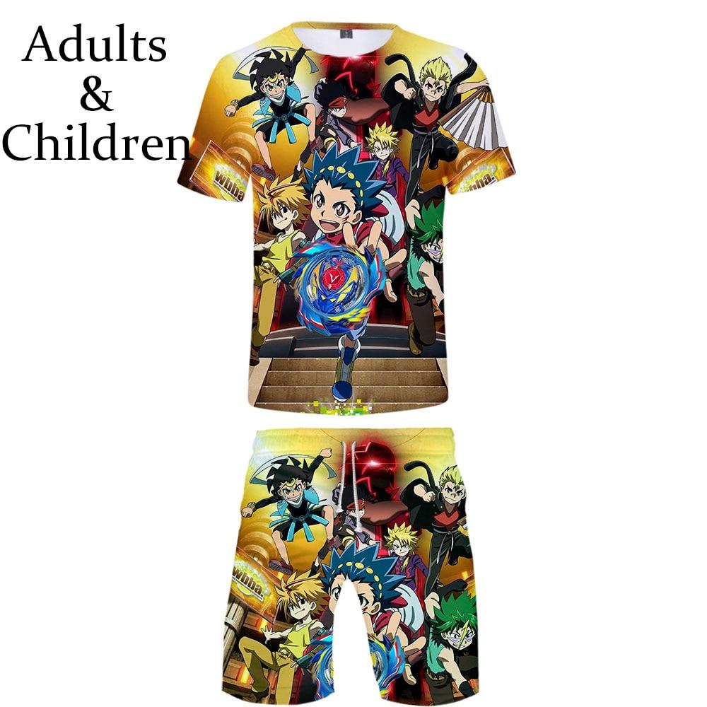 New Prinr 3D Beyblade Burst Evolution T-shirt+Beach Shorts Men Women Hip Hop Summer Casual 3D Hot Boys Girls Two-piece Cool Sets
