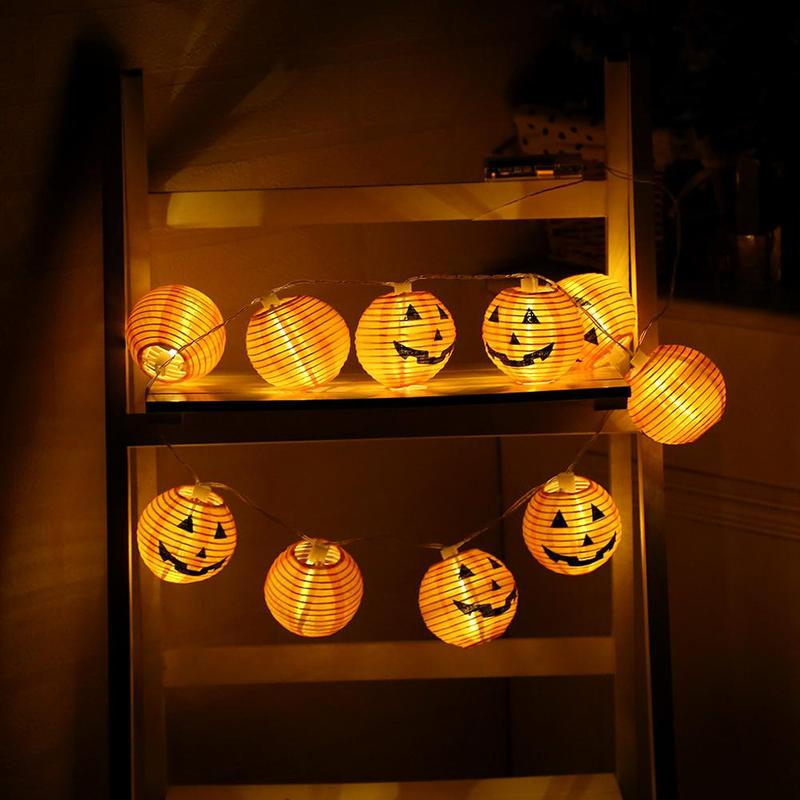 Halloween LED Lantern Lights Solar Ghost Festival Pumpkin Lantern 1.5m Rope Fairy Light Lamp Lantern Helloween Decoration