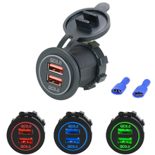Car Charger USB Vehicle QC3.0 Dual Motorcycle Socket for Mobile Phone Power