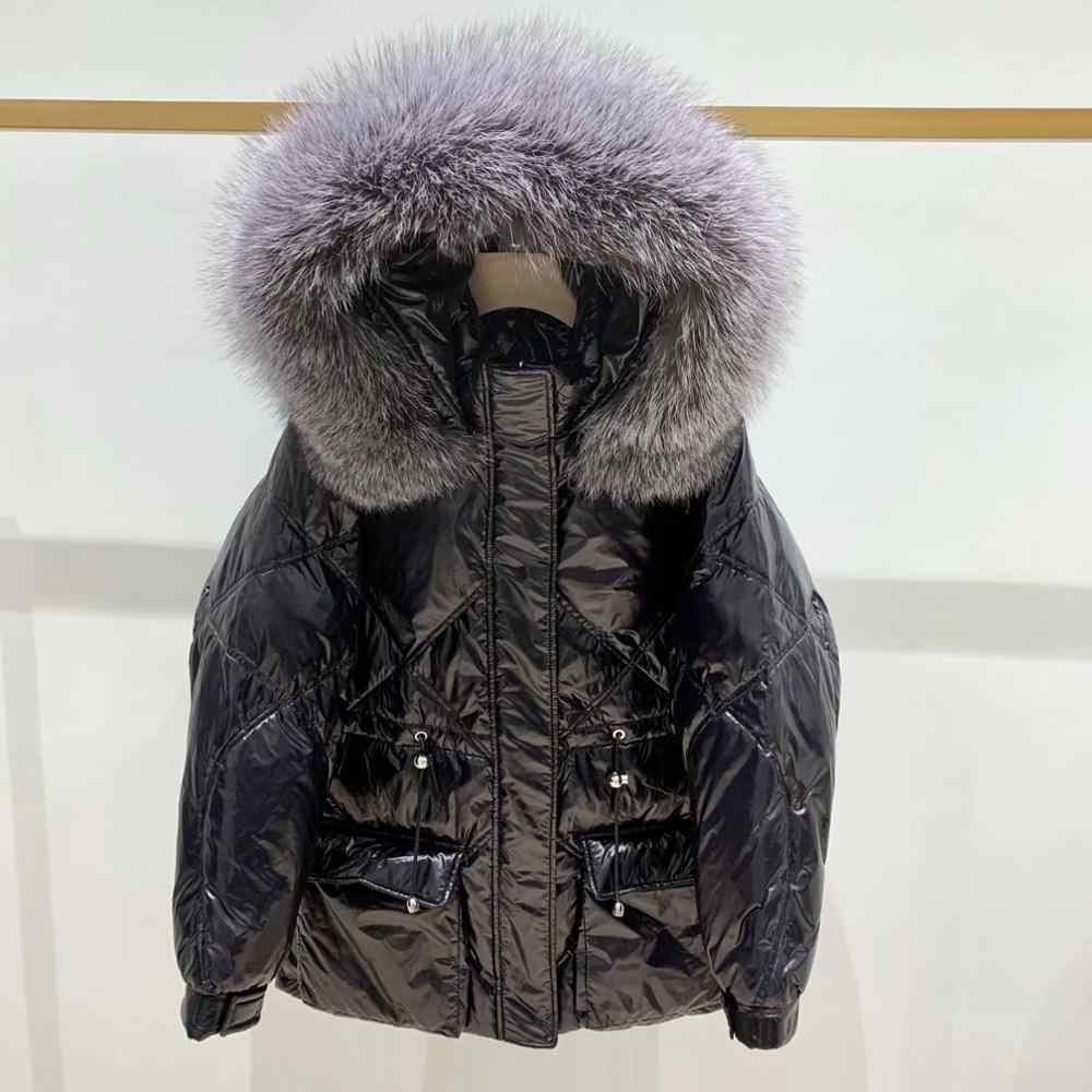 大本物の自然なキツネの毛皮の襟 2019 秋冬 90% ホワイトダックダウンパーカー女性厚い暖かいダウンコートフード付きダウン雪生き抜く