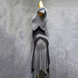Image 4 - Latin Dance Dress Gray Short Sleeve Rumba Tango Salsa Cha Dancing Dresses Practice Clothes Women Adults Performance Wear DN3841
