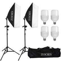 ZUOCHEN 4x25W LED ערכת תאורת סטודיו רך תיבת תמונה סטודיו סט + מצלמה תיק עבור פייסבוק חי