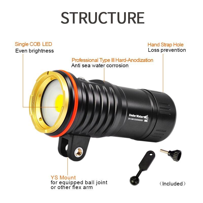 Image 3 - DM10 5500K 2700lumen diving photoraphy light HD video diving fill lamp Underwater 100m dive flashlight spot light lighting torchLED Flashlights   -