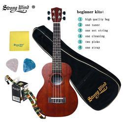Forte vento ukulele 23 Polegada ukelele concerto rosewood acústico guitarra mini havaí kits completos ukulele guitarra para iniciantes crianças