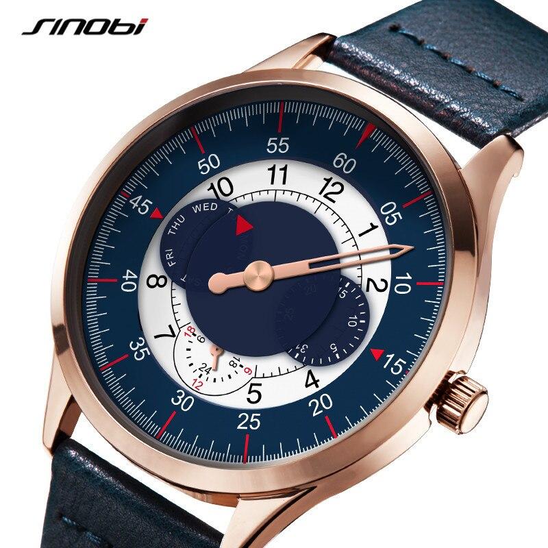 SINOBI New Arrival Mens Watches Creative Turntable Design Man Watch Leather Strap Quartz Wristwathces Date Week Clock Relogio 19