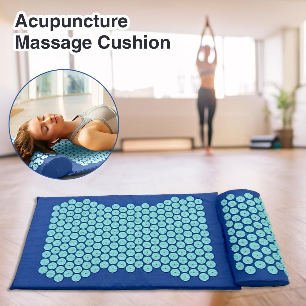 Acupressure Massage Mat including Pillow Sets to Relieve Stress and Back Pain with Spike 8