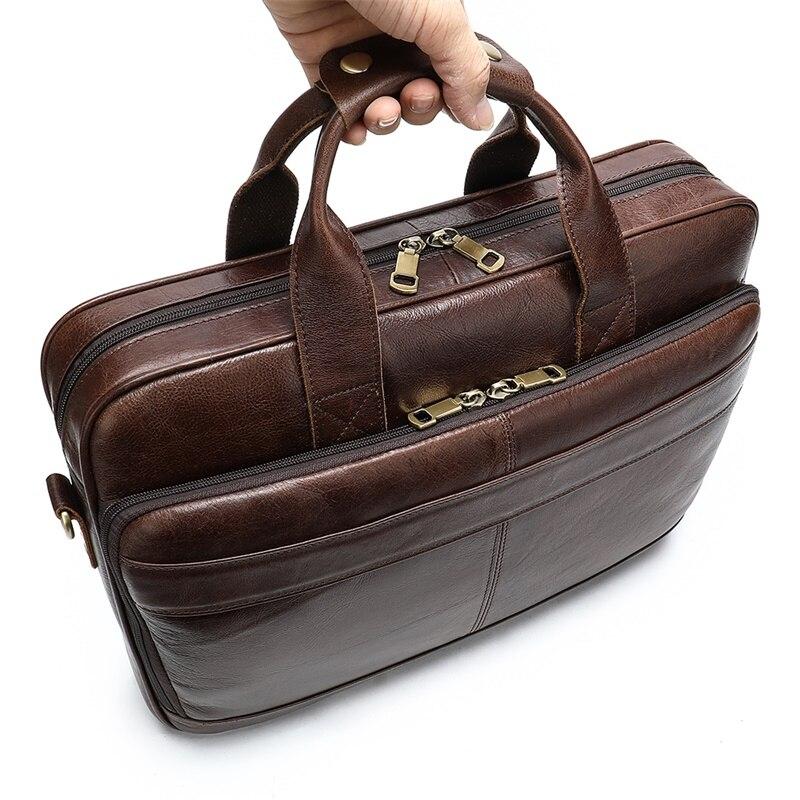 Bolso WESTAL de cuero para hombres, maletín para hombres, bolsas para hombres, bolso de cuero genuino para hombres, bolso de mano para hombres - 6