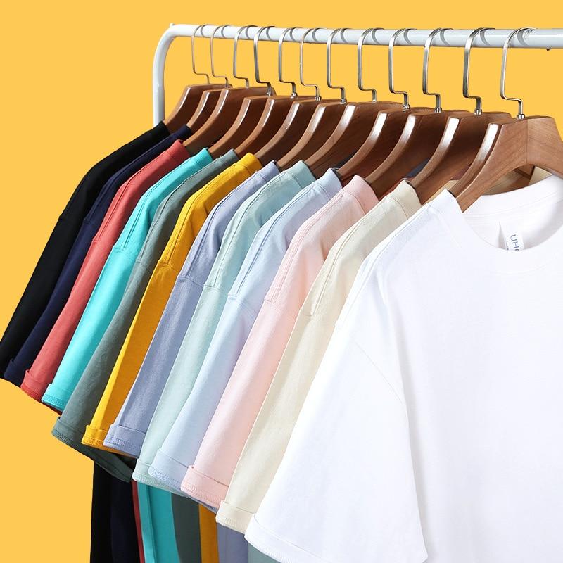 2021 New Solid color T Shirt Mens Tshirts Unisex Summer Basic Soft Round Neck Cotton Short Sleeve Tshirt Men Tops Oversized Tee
