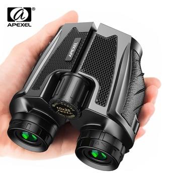 APEXEL Professional Binoculars 10X25 With BAK4 Prism High Powered Zoom Binocular Portable Hunting Telescope For Sports Travel binoculars 10x25 bak4 prism high ble hunting telescope pocket scope for sports