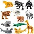 Gebäude Ziegel Tiere Tiger leopard Elefanten Wolf Shark Polar bär Whale Blöcke Kinder Spielzeug Tier Lockings Figuren Montieren