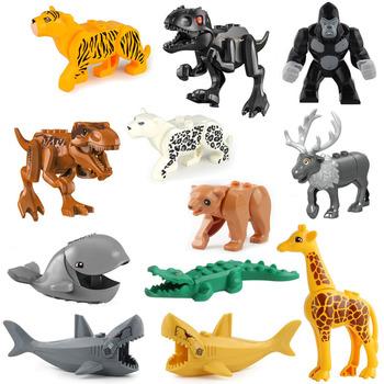 Cegły budowlane zwierzęta tygrys lampart słoń wilk rekin niedźwiedź polarny wieloryb bloki zabawki dla dzieci zwierzęta Lockings figurki montaż tanie i dobre opinie 4-6y 7-12y 12 + y 18 + CN (pochodzenie) Kompatybilny z lego jurajski świat Unisex Mały klocek do budowania (kompatybilny z Lego)