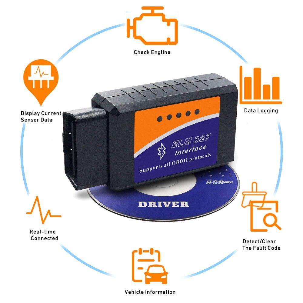 ELM327 Bluetooth OBD2 V2.1 Android PC Car Diagnostic Tool Scanner For Volkswagen VW Lada Porsche Volvo Renault Mitsubishi Subaru