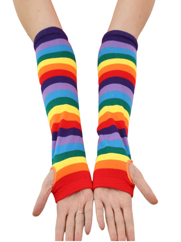 Fashion Winter Glove Elbow Length Fingerless Arm Warmers Rainbow Color Gloves Women Long Costume Santa Christmas Gifts Girls