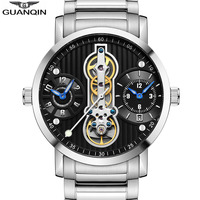 GUANQIN Automatic Tourbillon 3 movement new 2019 Relogio Men Skeleton Mechanical Watch Waterproof diver Watches