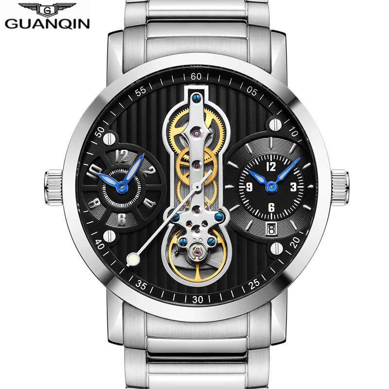GUANQIN automatique Tourbillon 3 mouvement nouveau 2019 Relogio hommes squelette mécanique montre étanche plongeur montres