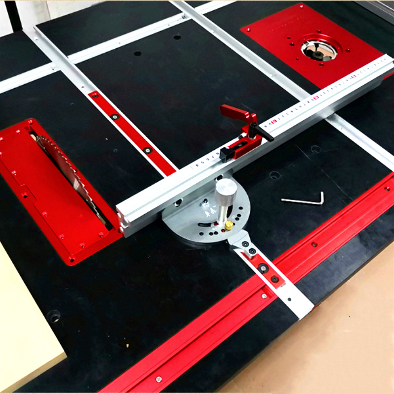 WoodWorking Tool Miter Gauge and 400/600/800mm Alluminium Fence with Metric Scale,Saw Flip Cover Plate,Ruter Table Insert Plate
