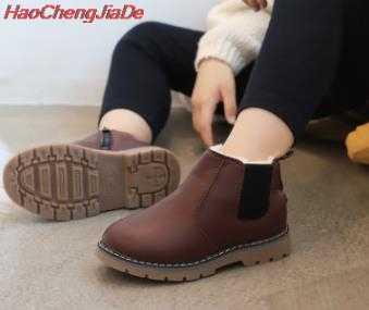 แฟชั่น Martin Boots with Fur เด็กกลางแจ้งหญิงรองเท้าเด็กฤดูหนาว Plush รองเท้าบูท