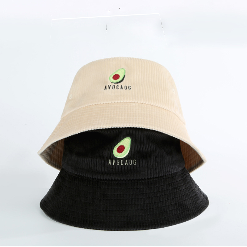 2019 New Fisherman Hat Women Autumn And Winter Japanese Avocado Embroidery Wild Corduroy Large Brim Hat Travel Sun Bucket Hat