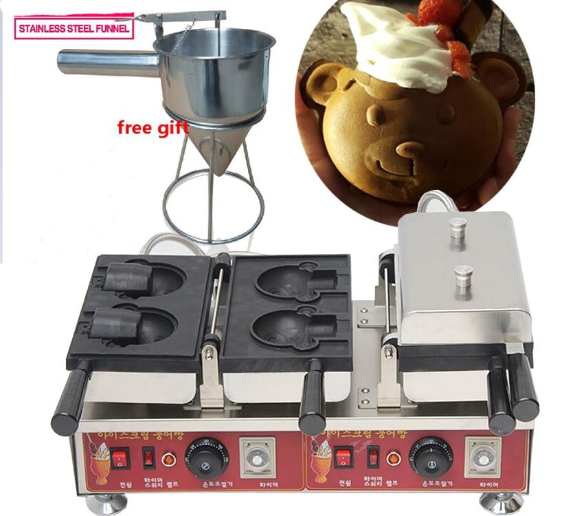 Коммерческий Электрический 4 шт. в форме медведя вафельная машина мороженое тайяки машина