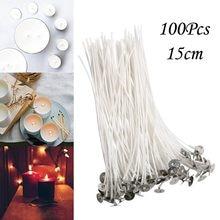 Luz 100 peças de qualidade algodão vela wick sem fumaça wicks de vela de algodão 15cm pré-encerado para vela, vela diy
