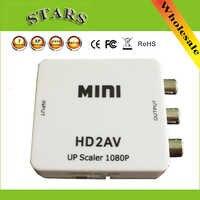 Mini caja convertidora de vídeo HD a RCA AV/CVSB L/R, 1080P, salida HD2AV compatible con NTSC y PAL, adaptador de interruptor escalador AV