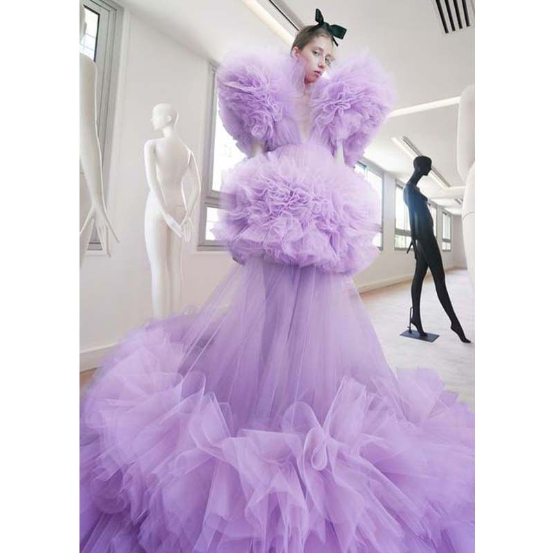 Dramatic Lush Gown Maxi Dresses Puffy Lavender Tulle Prom Formal Dress 2020 Robe de soiree Pageant Party Gowns Custom Made
