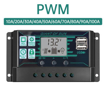 10A-100A  PWM Solar Charge Controller 12V 24V Dual USB Solar Regulator with  LCD PV Battery Controller Load Timer 10a dual battery solar charge controller regulator 12v 24v with remote meter mt1 control solar charger controller