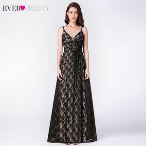 Image 1 - אי פעם די שחור תחרה ארוך ערב שמלות אונליין צווארון V שרוולים ספגטי רצועות שחור ערב שמלות Vestido פורמליות Mujer