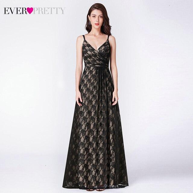אי פעם די שחור תחרה ארוך ערב שמלות אונליין צווארון V שרוולים ספגטי רצועות שחור ערב שמלות Vestido פורמליות Mujer