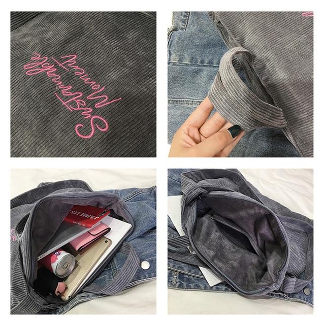 Women Corduroy Shoulder & Crossbody Bags Female Eco Cloth Handbag Large Capacity Zipper Totes Soft Embroidery Messenger Bag 6