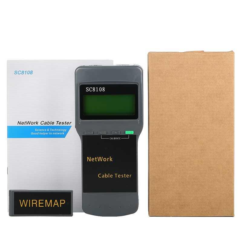 SC8108 taşınabilir Lcd ağ Tester ölçer ve LAN telefon kablo test cihazı ve metre ile LCD ekran RJ45