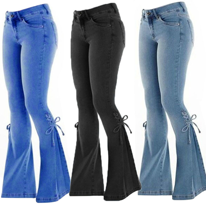 Ladies Mid-Waist Belt Denim Stretch Micro Bell Bottom Jeans Casual Fashion Jeans XIN-Shipping