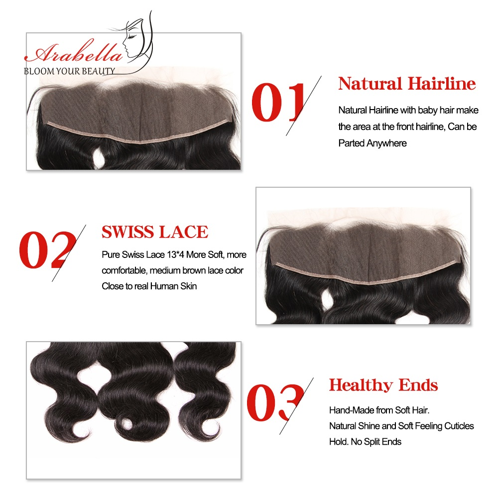 Body Wave 13x4 Transparent Lace Frontal   Arabella PrePlucked Bleached Knots Lace Frontal With Baby Hair 6