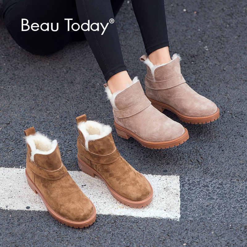 BeauToday Kadın Kar Botları Hakiki Deri Yuvarlak Ayak Platformu Üst Marka Kadın Kış Yün yarım çizmeler El Yapımı 03280
